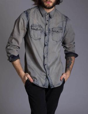 DIESEL kokvilnas vīriešu pelēkas krāsas krekls