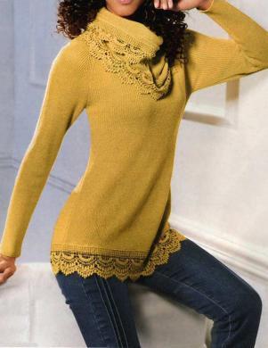 LINEA TESINI sieviešu dzeltenas krāsas džemperis ar šalli