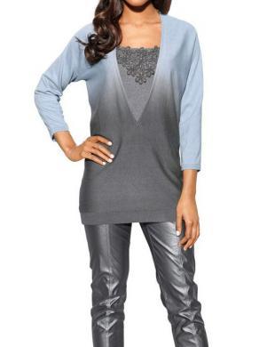 S. MADAN zilas/pelēkas krāsas skaists sieviešu džemperis