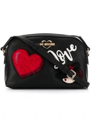 LOVE MOSCHINO melna sieviešu soma pār plecu