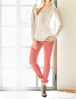RICK CARDONA koraļļu krāsas sieviešu džinsa bikses