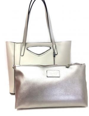 PIERRE CARDIN krēmīgas krāsas ādas sieviešu soma
