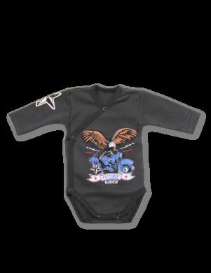 Melnas krāsas kokvilnas bodijs Rider LAFEL