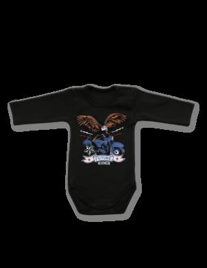 Tumšas krāsas kokvilnas bērnu bodijs Rider LAFEL