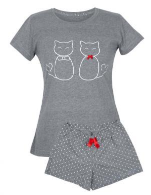 MUZZY sieviešu pelēka pidžama ar šortiem