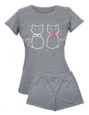 MUZZY pelēka kokvilnas ar īsām piedurknēm pidžama CATS