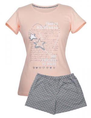 MUZZY gaiša kokvilnas ar īsām piedurknēm pidžama