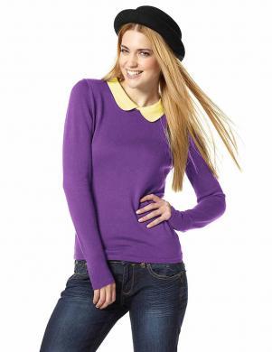 AJC violets džemperis ar dzeltenu apkakli