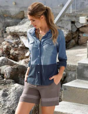BUFFALO sieviešu kokvilnas zilas krāsas krekls