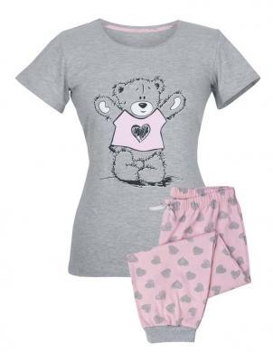 MUZZY pelēka kokvilnas ar īsām piedurknēm pidžama BEAR