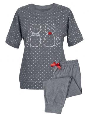 MUZZY pelēkas krāsas kokvilnas sieviešu ar īsām piedurknēm pidžama