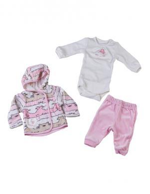 FLAMINGO TEXTILE rozā/baltas krāsas skaists bērnu komplekts