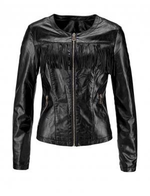 Melnas mākslīgas ādas jaka MELROSE