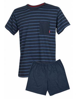 MUZZY tumši zila vīriešu pidžama ar šortiem