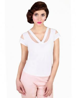 WAXIMA baltas krāsas ar īsām piedurknēm sieviešu blūze