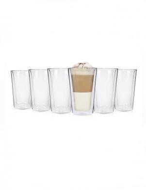 Dubulta stikla trauku komplekts 6 gab. BLUE Latte