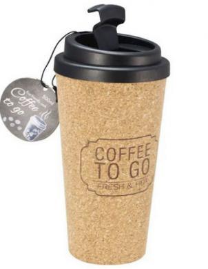 Korķa videi draudzīga ceļojumu krūze ar vāku 500 ml COFFEE TO GO