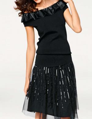ASHLEY BROOKE eleganta melnas krāsas sieviešu blūze