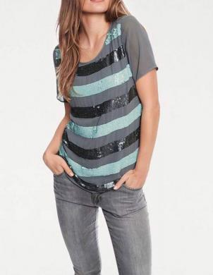 Svītrains spīdīgs sieviešu krekls ASHLEY BROOKE