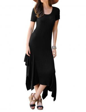 Melna ādīta gara kleita ALBA MODA