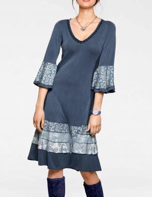 Paplatināta zila kleita ar diviem ielocījumiem LINEA TESINI