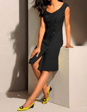 S. MADAN melna stilīga sieviešu kleita