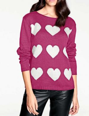 Rozā sieviešu džemperis ar sirdīm RICK CARDONA