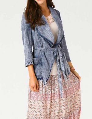 LINEA TESINI zilas krāsas sieviešu jaka ar jostu