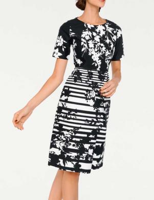 ASHLEY BROOKE svītraina melnas krāsas sieviešu kleita