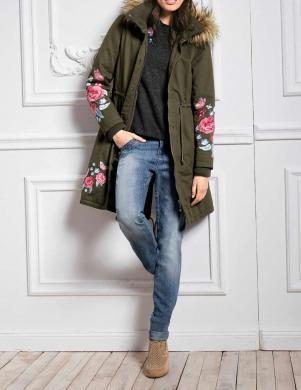 Haki krāsas jaka ar izšūtiem ziediem LINEA TESINI