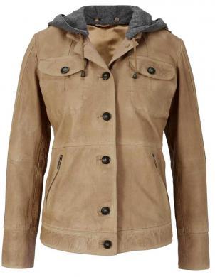 Sieviešu brūna ādas jaka ar noņemamu kapuci HEINE