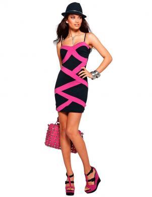 MELROSE melnas/rozā krāsas skaista sieviešu kleita