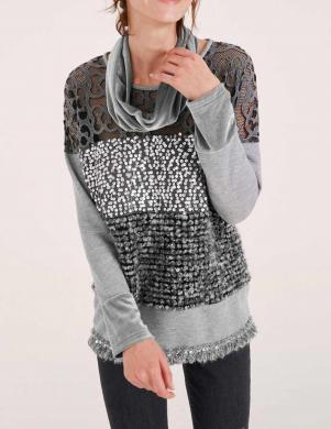 Dažādu faktūru pelēks džemperis HEINE
