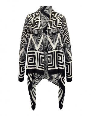 TOM TAILOR DENIM melnas/krēmīgas krāsas skaists sieviešu kardigans