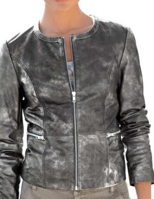 Pelēka ādas sieviešu jaka ALBA MODA