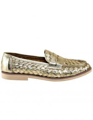 Zelta krāsas pīti ādas sieviešu apavi XYXYX