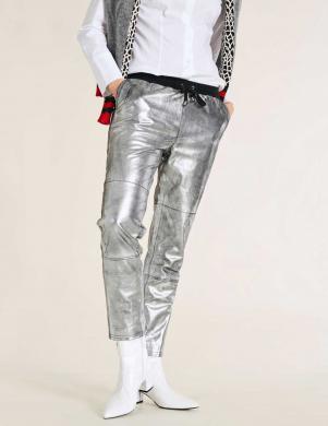 Sudraba krāsas ādas bikses ar elastīgu jostu HEINE