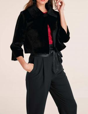 Melna īsa kažokādas jaka HEINE