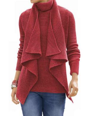 ALBA MODA sarkanas krāsas stilīgs sieviešu kardigans
