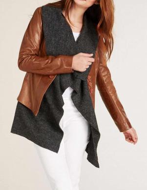 Ādas brūna jaka ar vilnas džemperi HEINE