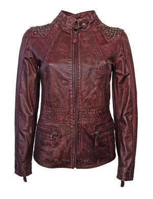 ANISTON bordo krāsas sieviešu ādas jaka
