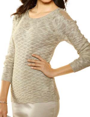 Smilšu krāsas sieviešu ādīta blūze ALBA MODA