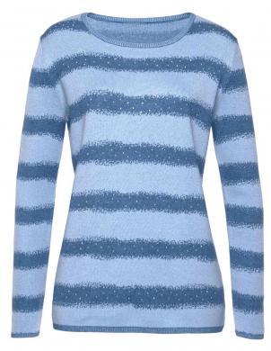 Svītrains zils džemperis ar dekoratīviem kristāliem CHEER