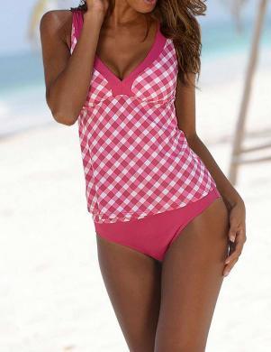 BUFFALO divu daļu rozā/baltas krāsas sieviešu peldkostīms