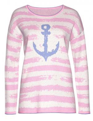 Svītrains džemperis ar dekoratīvu žakarda rakstu CHEER