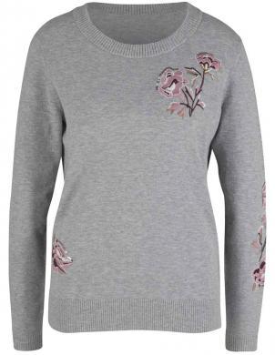 Pelēks džemperis ar izšūtiem ziediem LINEA TESINI