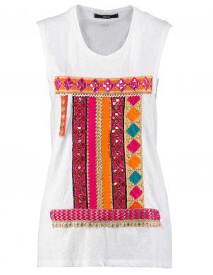 Balts sieviešu krekls ar aplikāciju REPLAY