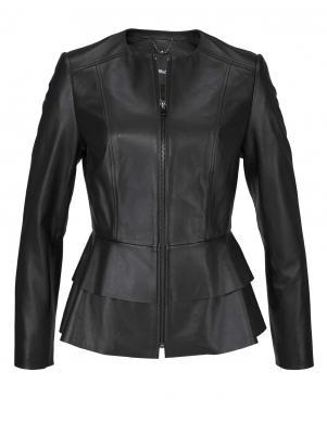 Melna ādas sieviešu jaka TAMARIS