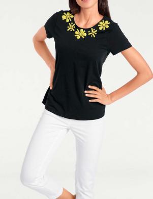 Melns sieviešu krekls ar dzeltenām puķēm ASHLEY BROOKE