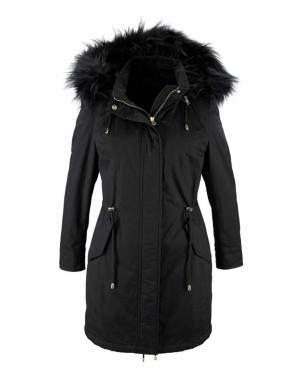 LAURA SCOTT melnas krāsas stilīga sieviešu kokvilnas jaka
